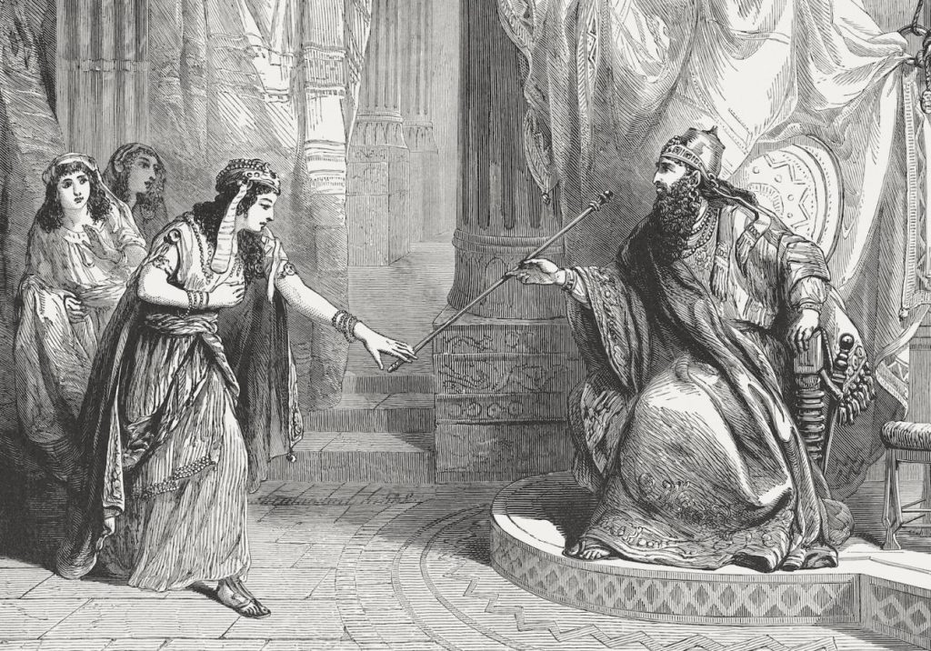 "So it was, when the king saw Queen Esther standing in the court, that she found favor in his sight, and the king held out to Esther the golden scepter that was in his hand. Then Esther went near and touched the top of the scepter (Esther 5, 2). Wood engraving from the book ""Illustrirte Familien-Bibel nach Dr. Martin Luther (Illustrated Family bible after Dr. Martin Luther)"", published by A.H. Payne, Reudnitz near Leipzig, in 1886."
